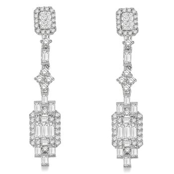 1 7/8ct tw Diamond Halo Fashion Earrings in 18K White Gold
