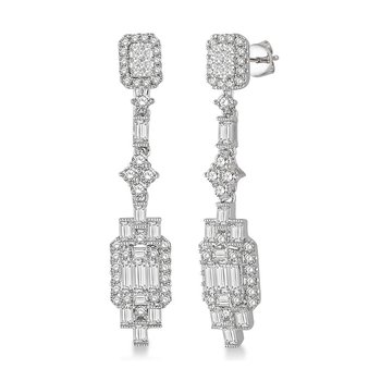 1 7/8ct tw Diamond Fashion Halo Earrings in 18K White Gold