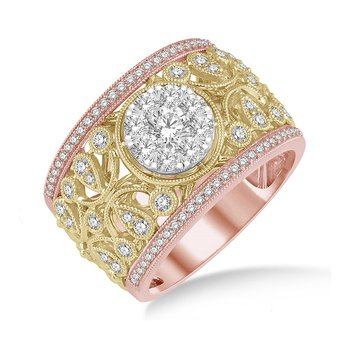 1 1/8ct tw Diamond Thousand Points of Light Ring in 18K White, Yellow, & Rose Gold