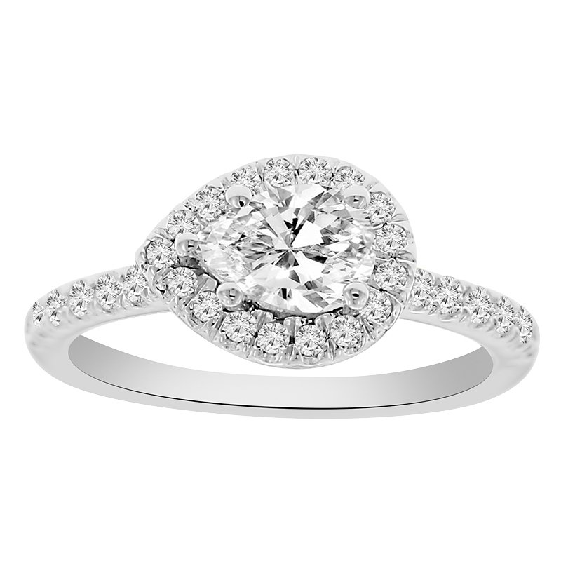 1/3ct tw Diamond East-West Engagement Ring Setting in 14K White Gold