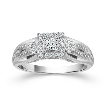 3/8ct tw Diamond True Promise Collection Engagement Ring in 10K White Gold