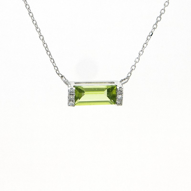 .03ct tw Diamond & Peridot Bar Necklace in 14K White Gold