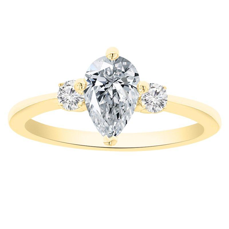 9/10ct tw NewBorn Lab Created Diamond Three Stone Engagement Ring in 14K Yellow Gold