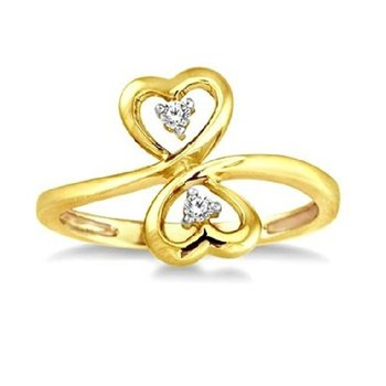 .05ct tw Diamond Me & You Two Stone Heart Fashion Ring in 10K Yellow Gold