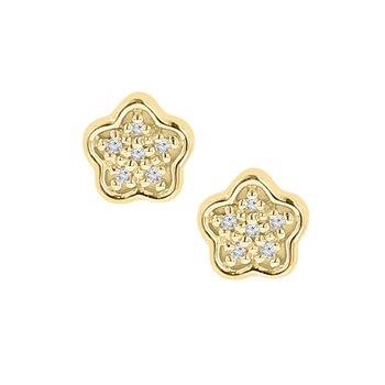 .05ct tw Diamond Flower Stud Earrings in 10K Yellow Gold