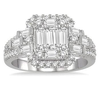 1 1/2ct tw Diamond Halo Fashion Ring in 18K White Gold