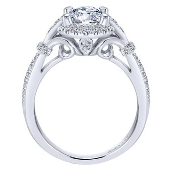 1 1/3ct tw Diamond Halo Engagement Ring in 18K White Gold