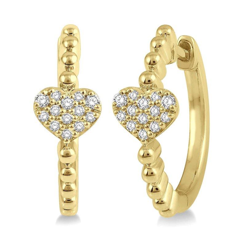 1/8ct tw Diamond Heart Hoop Earrings in 10K Yellow Gold