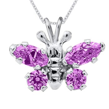 February Birthstone Butterfly Necklace in Sterling Silver