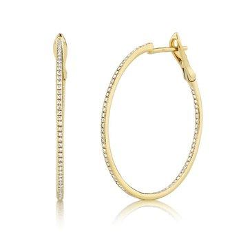 3/8ct tw Diamond Hoop Earrings in 14K Yellow Gold