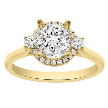 1ct tw NewBorn Lab Created Diamond Halo Engagement Ring in 14K Yellow Gold