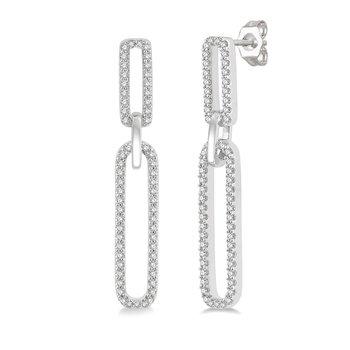 1/3ct tw Diamond Paper Clip Earrings in 14K White Gold