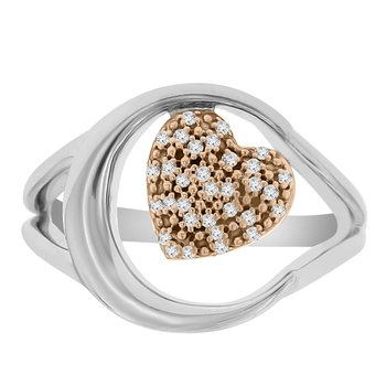 1/8ct tw Diamond Moon & Back Ring in 10K White & Rose Gold