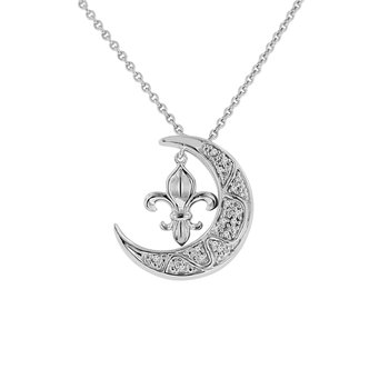 .05ct tw Diamond Nola Collection Fleur De Lis & Moon Necklace in Sterling Silver