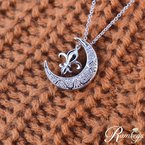 .05ct tw Diamond Nola Collection Fleur De Lis & Moon Necklace in Sterling Silver