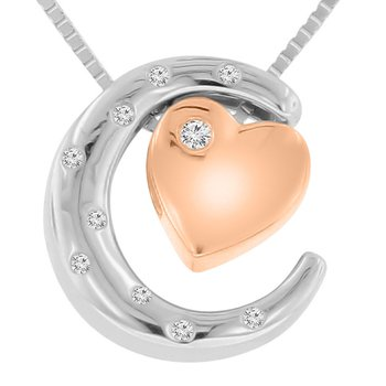 .03ct tw Diamond Moon & Back Necklace in Sterling Silver & 10K Rose Gold