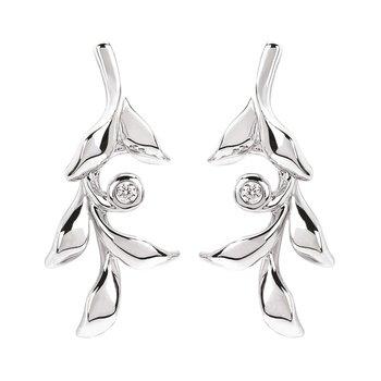 .02ct tw Diamond Vine Earrings in Sterling Silver