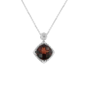 Garnet Necklace in 10K White Gold