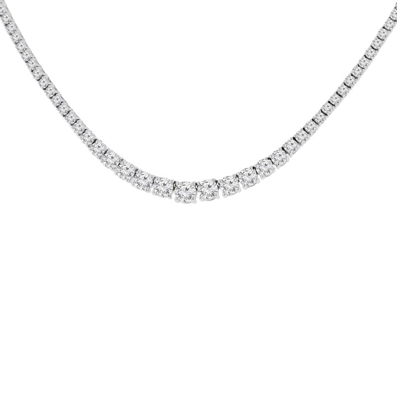 14 1/3ct tw NewBorn Lab Created Diamond Riviera Necklace in 14K White Gold