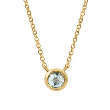 March Birthstone Necklace in 10K Yellow Gold