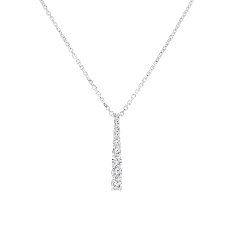 1/4ct tw Diamond Journey Bar Necklace in 10K White Gold