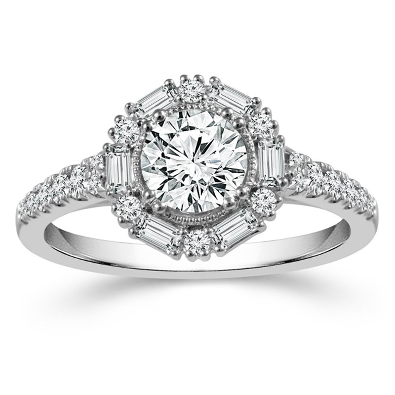 1 7/8ct tw Diamons Halo Engagement Ring in 14K White Gold