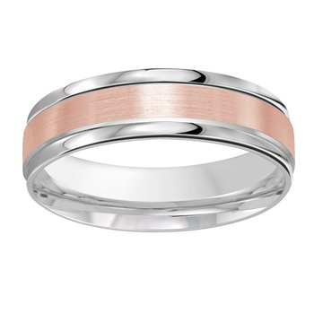 6mm Wedding ring in 14K White Gold & Rose Gold