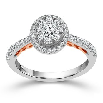 3/4ct tw Diamond Halo Thousand Points of Light Engagement Ring in 10K White & Rose Gold