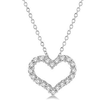 1/2ct tw Diamond Heart Pendant in 14K White Gold