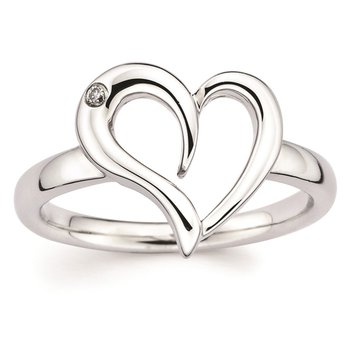 .01ct tw Diamond Heart Ring in Sterling Silver