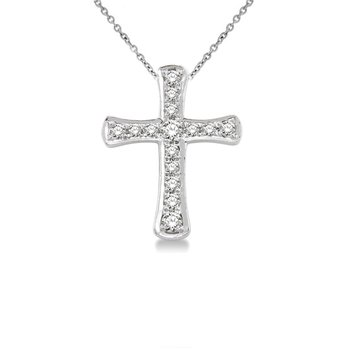 1/10ct tw Diamond Cross Necklace in 14K White Gold