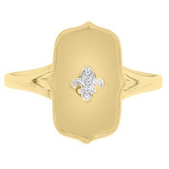 .01ct tw Diamond Fleur De Lis Fashion Ring in 10K Yellow Gold