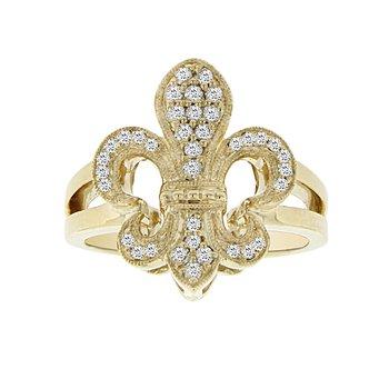 1/4ct tw Diamond Fleur De Lis Fashion Ring in 14K Yellow Gold