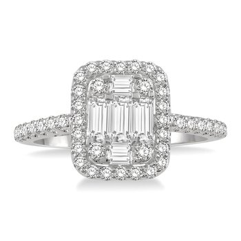 1/2ct tw Diamond Halo Engagement Ring in 14K White Gold