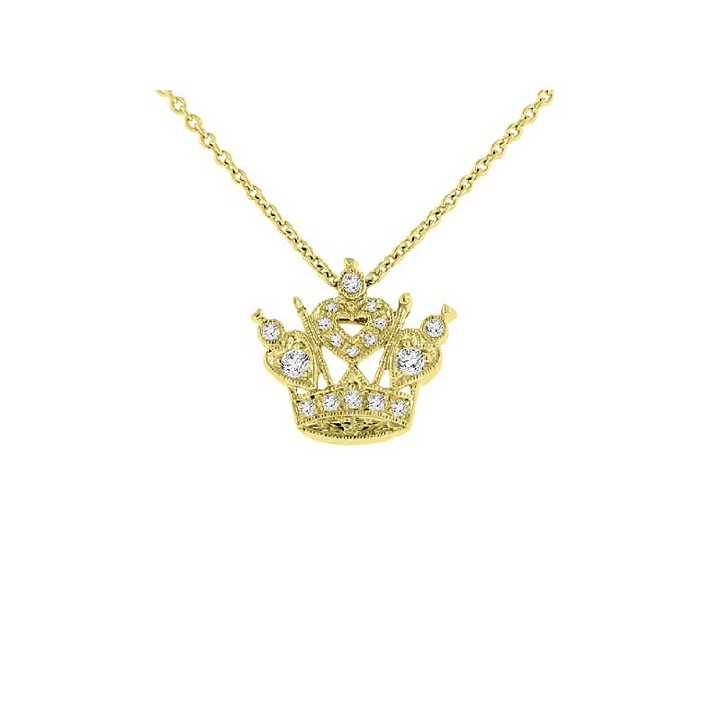 1/10ct tw Diamond Mini Crown Necklace in 14K Yellow Gold