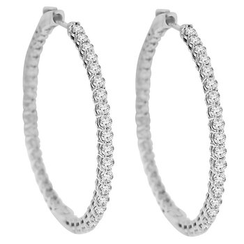 3ct tw Diamond Hoop Earrings in 14K White Gold