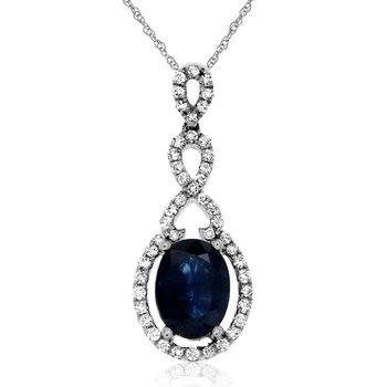 1/4 ct tw Diamond & Blue Sapphire Halo Pendant in 14K White Gold
