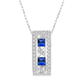 1/5ct tw Diamond & Blue Sapphire Necklace in 14K White Gold