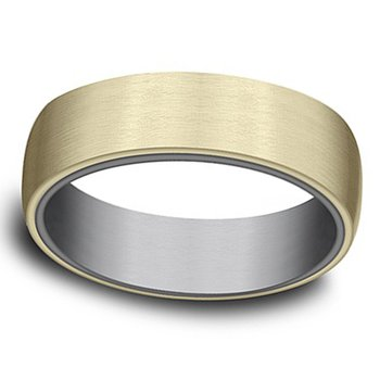 6.5mm Wedding Ring in 14K Yellow Gold & Grey Tantalum