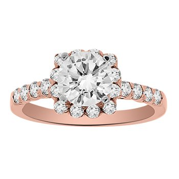 1 1/2ct tw Diamond Halo Engagement Ring in 14K Rose Gold