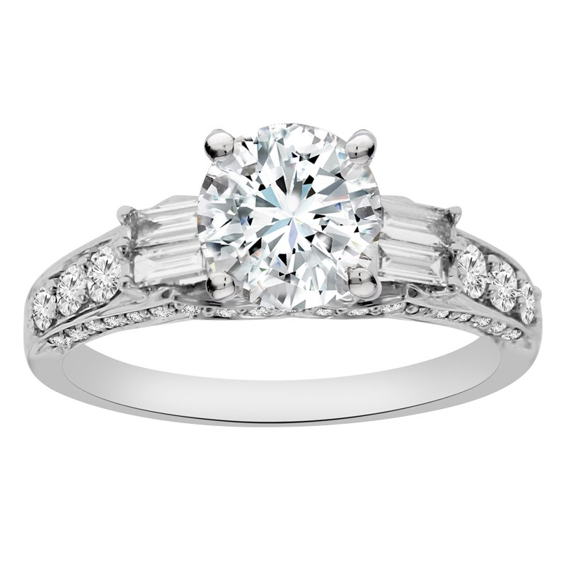 5/8ct tw Diamond Engagement Ring Setting in 18K White Gold