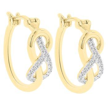 1/10ct tw Diamond Knot Hoop Earrings in 10K White & Yellow Gold