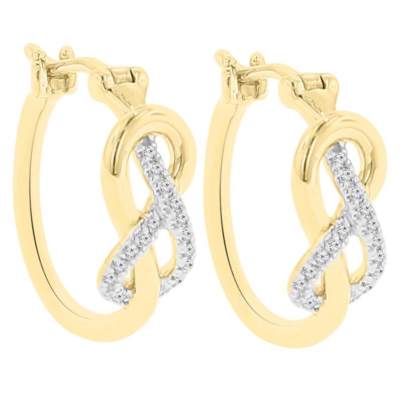 1/10ct tw Diamond Hoop Earrings in 10K White & Yellow Gold