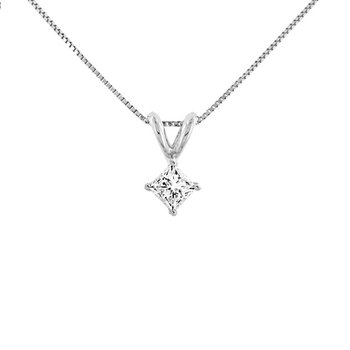 1/4ct tw Diamond Solitaire Necklace in 14K White Gold