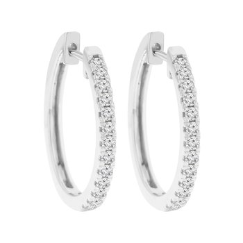 1/2ct tw NewBorn Lab Created Diamond Hoop Earrings in 14K White Gold