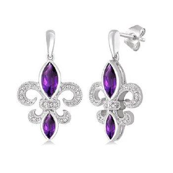 .05ct tw Diamond & Amethyst Fleur De Lis Earrings in Sterling Silver