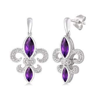 .05ct tw Diamond & Amethyst Fleur De Lis Earrings in Sterling Silver