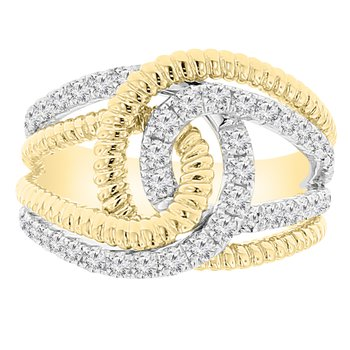9/10ct tw Diamond Fashion Ring in 14K White and Yellow Gold