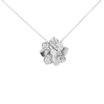 1/8ct tw Diamond Garden District Collection Magnolia Necklace in 10K White Gold