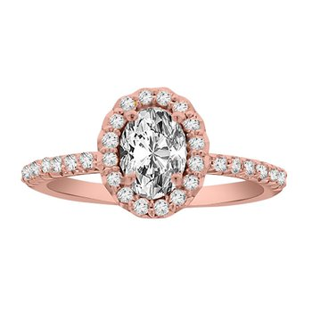 1/3ct tw Diamond Halo Engagement Ring Setting in 14K Rose Gold